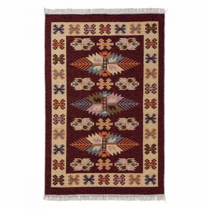 Kurzflor Teppiche Antibakteriell Waschbarer Wendeteppich aus recycelter Baumwolle im Vintage Kilim | MY9910K