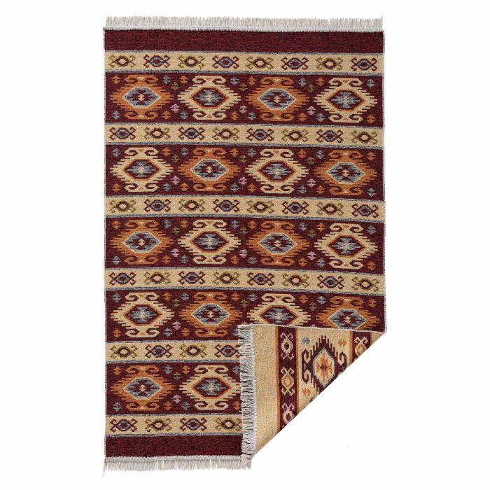 Kurzflor Teppiche Antibakteriell Waschbarer Wendeteppich aus recycelter Baumwolle im Vintage Kilim | MY9930K