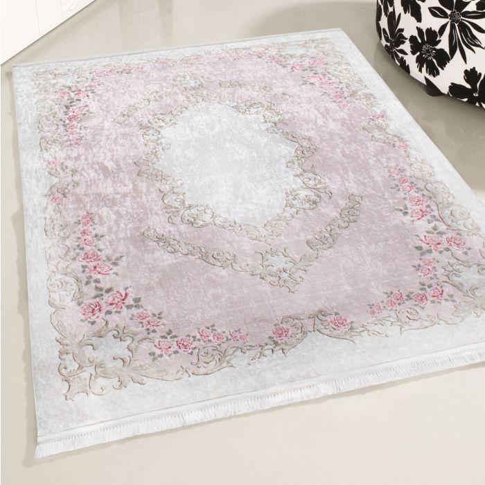 Waschbarer Teppich Rosa | Vintage Blumenmuster | MY2920 CAIMAS-2920-Rose Vintage Patchwork Muster