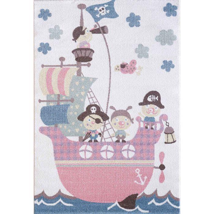 Kinderzimmer Teppich Bunt | Piratenmotiv für Jungs | Mädchen Nr.4604 LunaK-4604-cream für Kinder