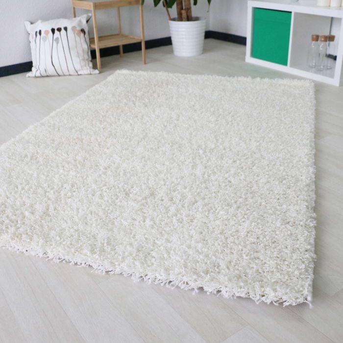 40 mm | Shaggy Hochflor Teppich Weiss | Einfarbig Uni MY170 Basic-170-Cream Schlafzimmer