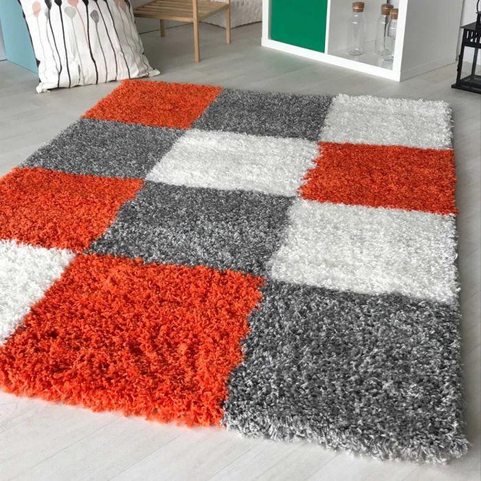 40 mm   Shaggy Hochflor Teppich Orange Weiss   Karo Melierung MY171 Basic-171-Orange Kinderteppiche
