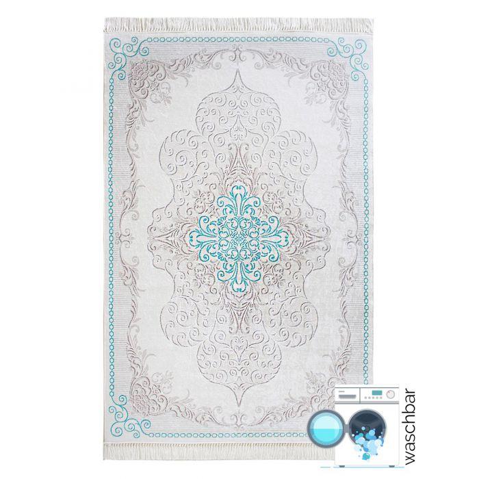 Waschbarer Teppich Türkis | Moderne Medaillon Design | MY2518 Caimaz-2518 Used Look Teppiche