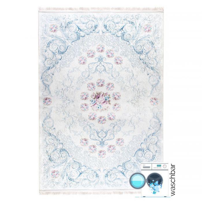 Umrandung-Bordüre Antibakteriell Waschbarer Teppich Weiss Blau | Barock mit Blumenmuster | MY2880