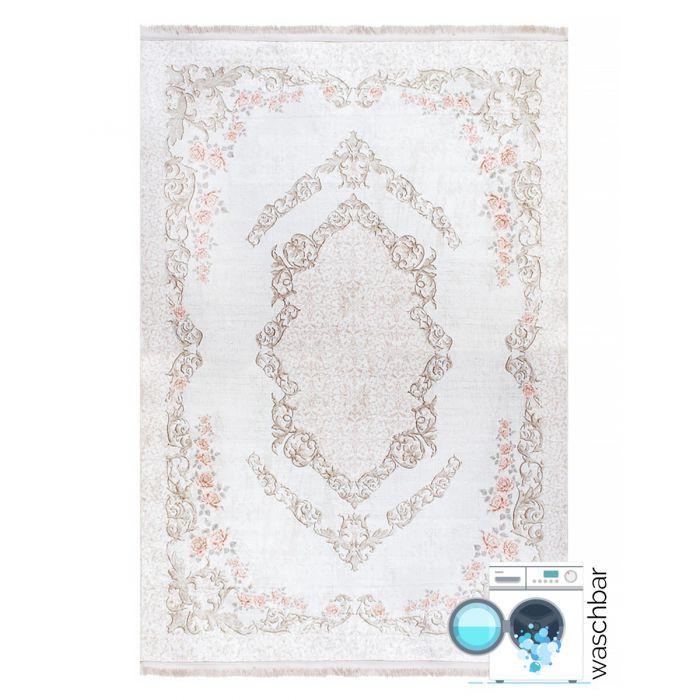 Vintage Patchwork Muster Antibakteriell Waschbarer Teppich Beige | Vintagedesign Floral | MY2921