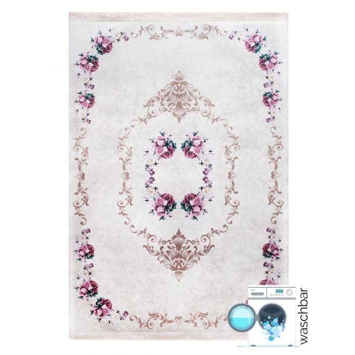 Aktuelle Trends Waschbare Teppiche Antibakteriell Waschbarer Teppich Rosa | Floral Muster mit Umrandung | MY2940J