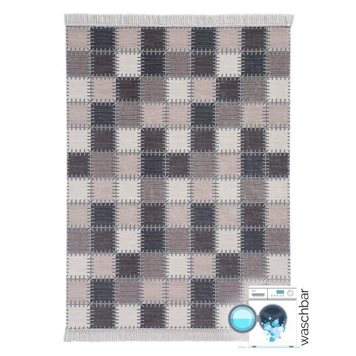 Waschbarer Teppich Ethno  Pastel Beige Karo   MY2952 Caimas-2952 Geometrische Muster