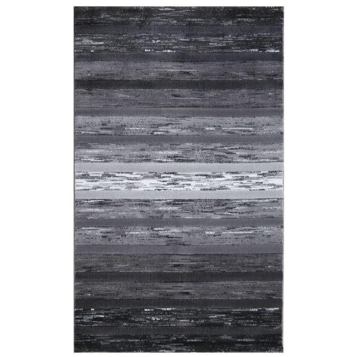 Kurzflor Teppich Modern Grau Schwarz | Designer Farbverlauf | MY303S Lena-303-Grau Schlafzimmer