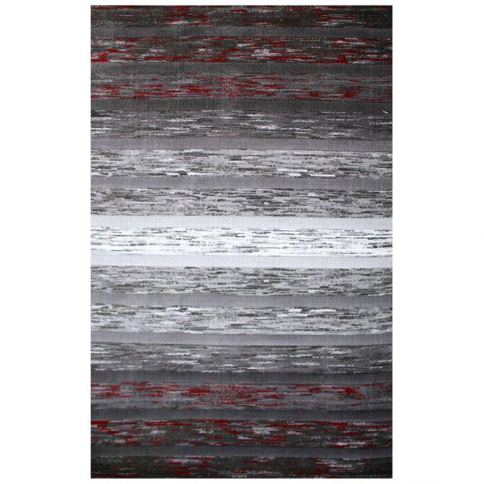 Kurzflor Teppich Modern | Farbe Schwarz Rot | MY305K Lena-305-Red Schlafzimmer