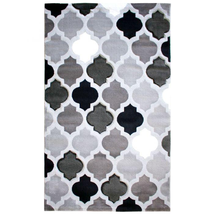 Teppich Kurzflor Grau Schwarz | Konturenschnitt Design | MY308S Lena-308-Grau Skandinavische Teppiche