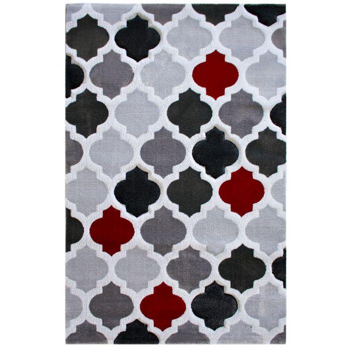 Teppich Kurzflor Rot Grau | Konturenschnitt Design | MY308K Lena-308-Rot Skandinavische Teppiche