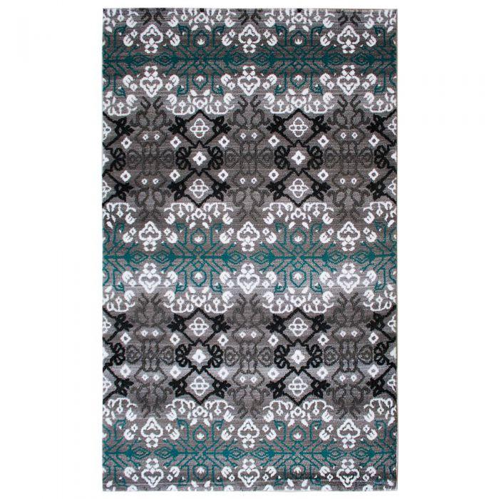 Skandinavische Teppiche Teppich Kurzflor Türkis Schwarz Grau | Boho Boheme Design | MY311A