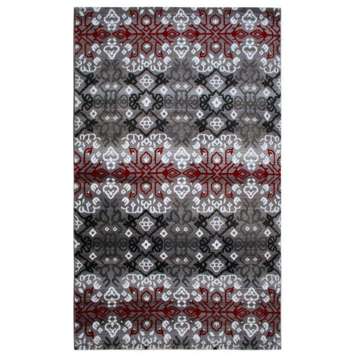 Aktuelle Trends Inspirieren Teppich Kurzflor Rot Schwarz Grau | Boho Boheme Design | MY311K