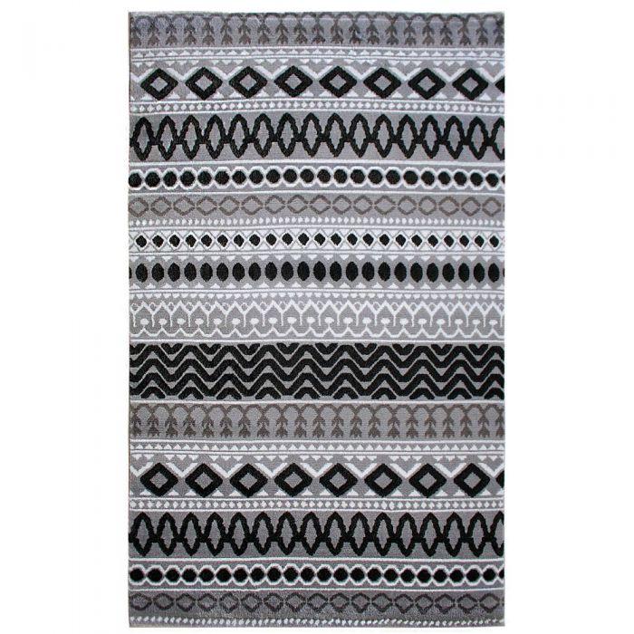 Skandinavische Teppiche Teppich Kurzflor Schwarz Grau | Boho Boheme Muster | MY312S