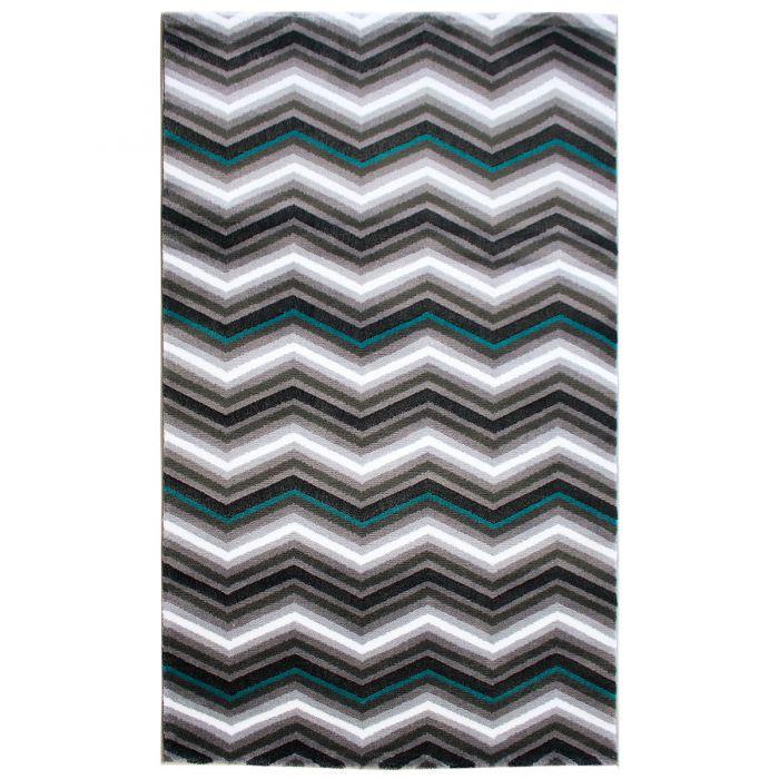 Aktuelle Trends - Aktuelle Angebote Teppich Kurzflor Türkis Grau | Skandi Zick Zack Design | MY314A