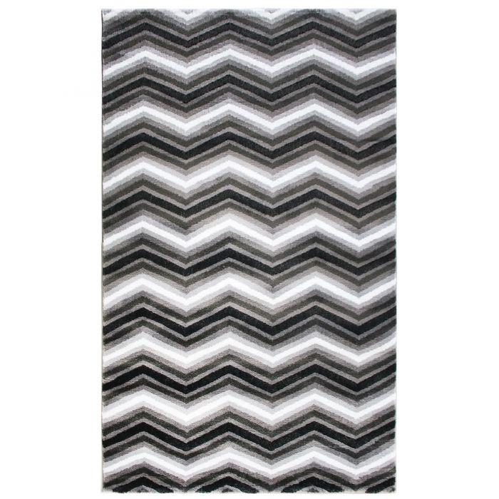 Skandinavische Teppiche Teppich Kurzflor Schwarz Weiss | Moderne Zick Zack Design | MY314W