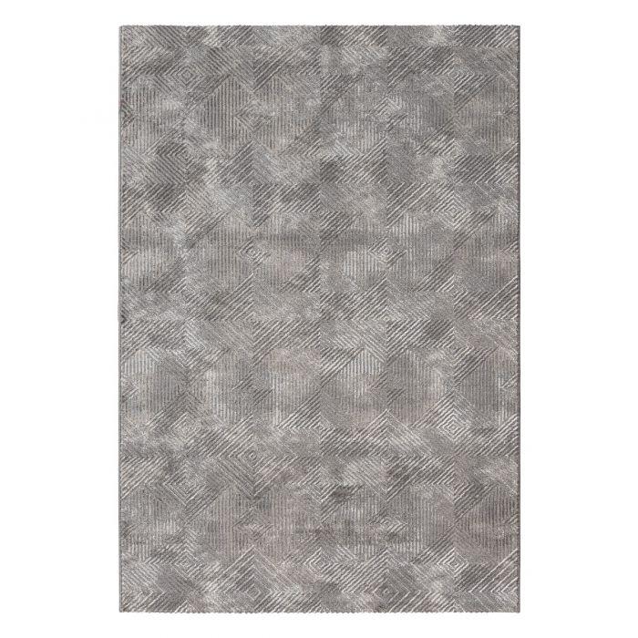 3D Kurzflor Vintageteppich mit Rauten in Grau | MY6620S Amatis-6620-grau Vintage Patchwork Muster