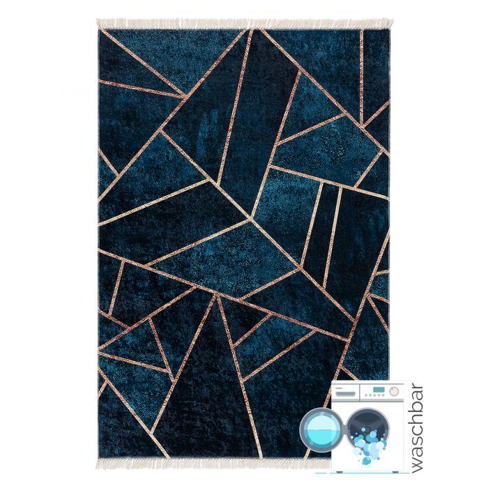 Waschbarer Teppich in Gold Petrol | Geometrische Design | MY5800 CAIMAS-5800 Aktuelle Trends Waschbare Teppiche
