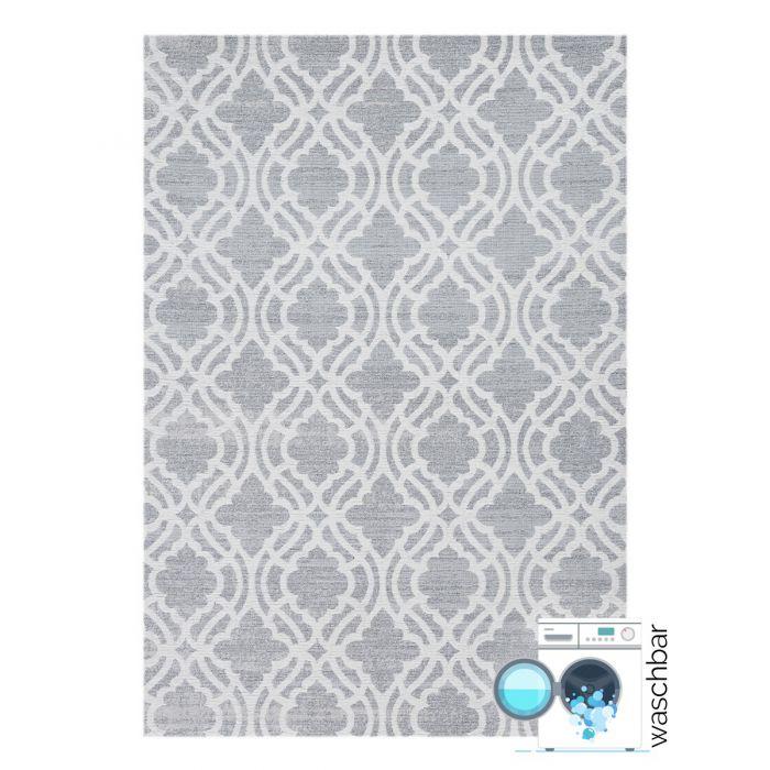 Teppich aus Baumwolle Antibakteriell Baumwolle Teppich Waschbar | Abstrakt Geo Grau | MY6901