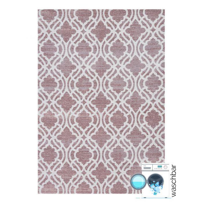 Teppich aus Baumwolle Antibakteriell Baumwolle Teppich Waschbar | Abstrakt Geo Rosa | MY6902