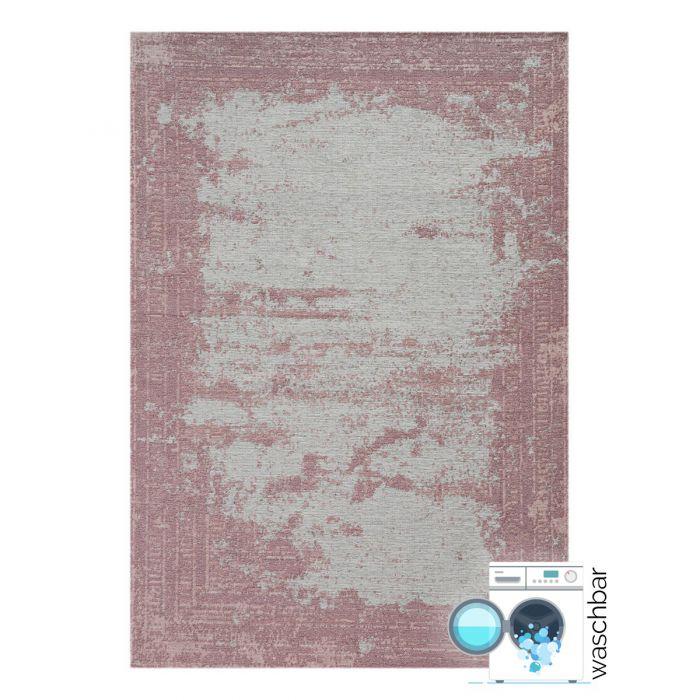 Teppich aus Baumwolle Antibakteriell Baumwolle Teppich Waschbar | Indigo Aztek Rosa | MY6910