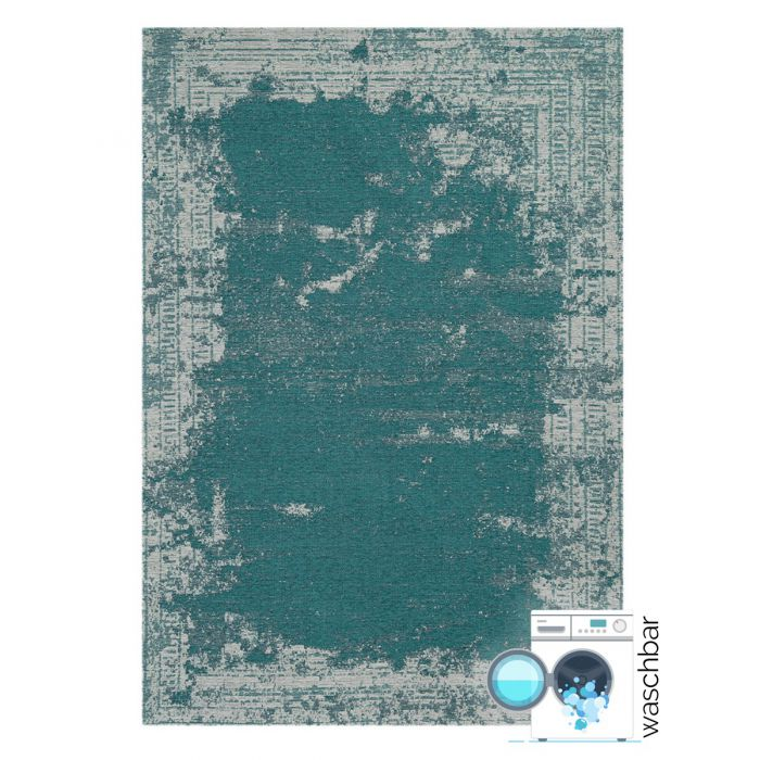 Teppich aus Baumwolle Antibakteriell Baumwolle Teppich Waschbar | Indigo Aztek Grün Blau | MY6911
