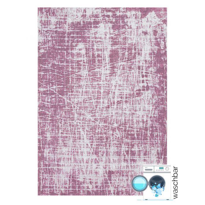 Kurzflor Teppiche Antibakteriell Baumwolle Teppich Waschbar | Young Pattern Rosa | MY6922