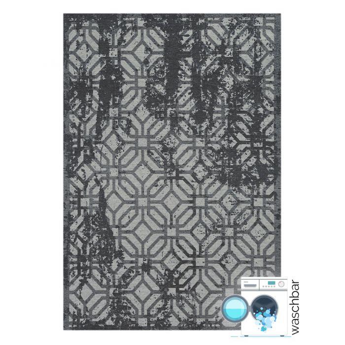Kurzflor Teppiche Antibakteriell Baumwolle Teppich Waschbar | Modern Geo Motiv Grau | MY6930