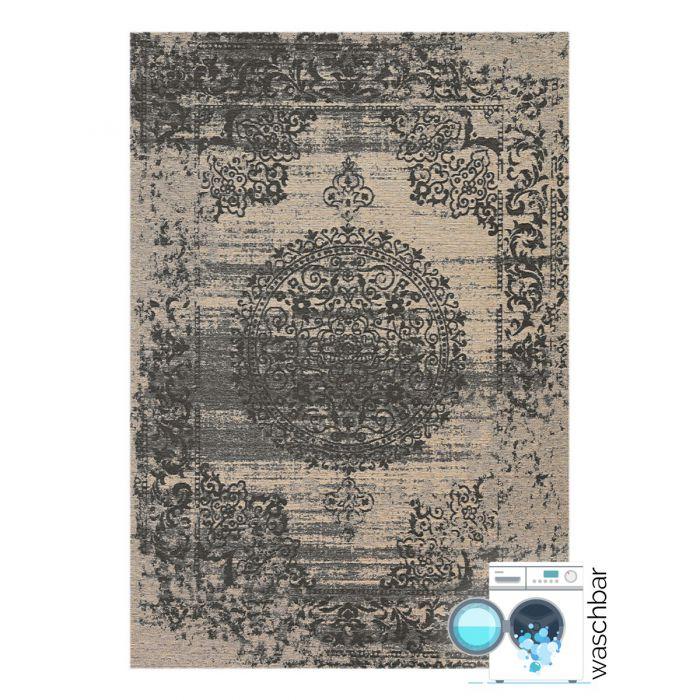 Kurzflor Teppiche Antibakteriell Baumwolle Teppich Waschbar | Barock Antik Grau | MY6940