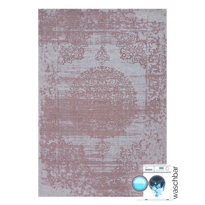 Kurzflor Teppiche Antibakteriell Baumwolle Teppich Waschbar | Barock Antik Rosa | MY6941