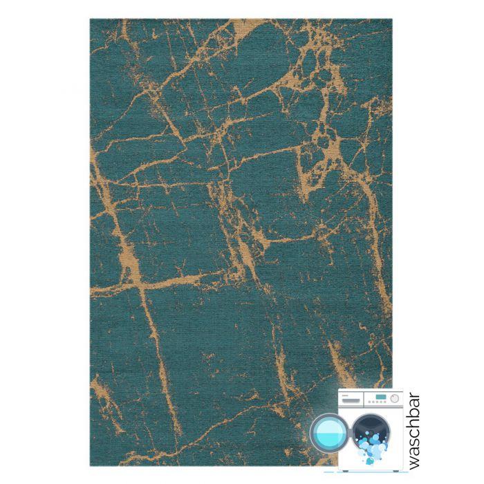 Kurzflor Teppiche Antibakteriell Baumwolle Teppich Waschbar | Abstrakt Marmor Look Grün Gelb | MY6951