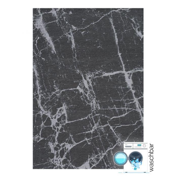 Kurzflor Teppiche Antibakteriell Baumwolle Teppich Waschbar | Innovation Grau Look | MY6952