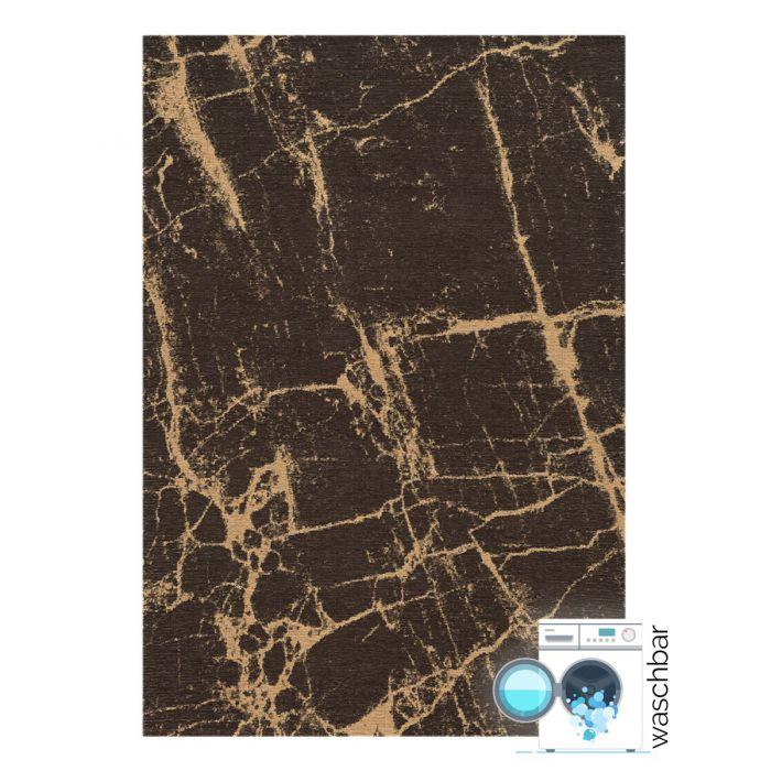 Kurzflor Teppiche Antibakteriell Baumwolle Teppich Waschbar | Innovation Braun Gelb Look | MY6953