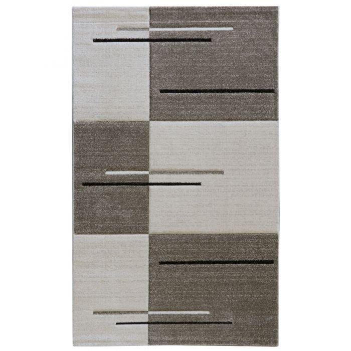 Teppich Wohnzimmer Modern Beige | Kurzflor Kariert mit Konturen MY7423 Trend-7423-Cream Alle Artikel