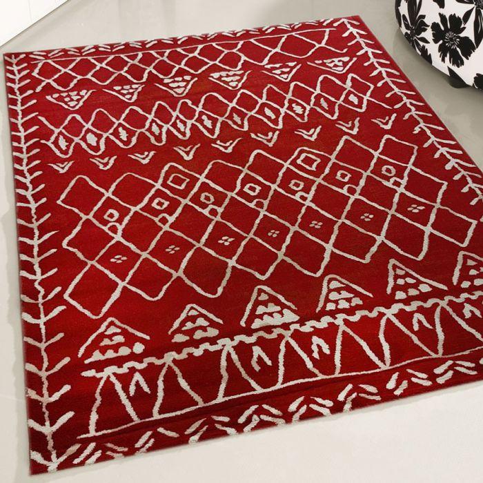 Teppich Kurzflor Rot Weiss | Vintage Boho Style | MY7796K Rustik-7796-Red Schlafzimmer