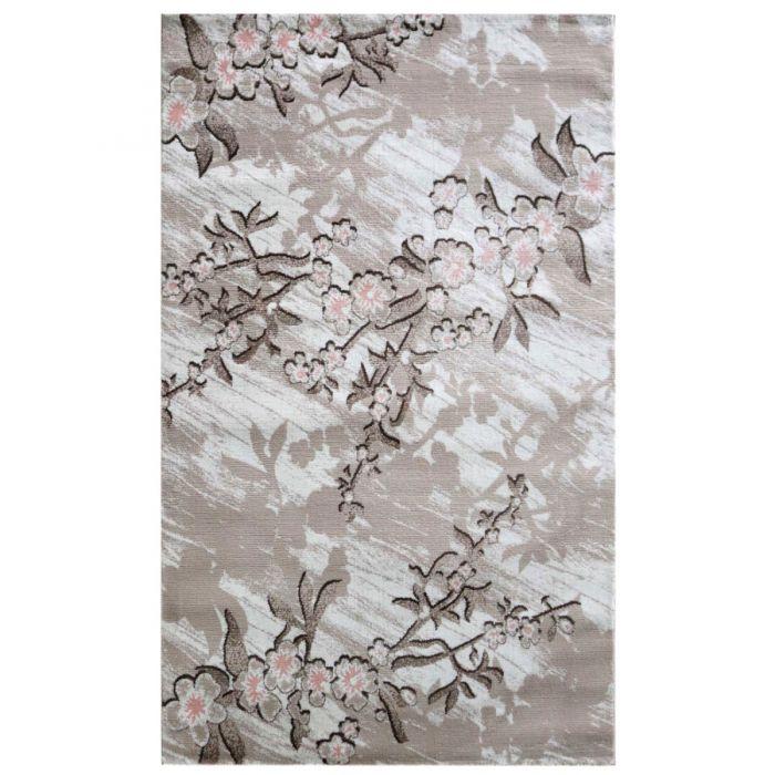 Kurzflor Teppich Braun Rosa | Moderne Blumen Muster MY7860 Marmaris-7860 Teppiche in Rosa