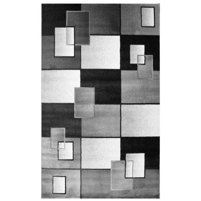 Kurzflor Teppich Schwarz Weiss | Geometrisches Karo Design MY7980 Marmaris-7980 Kinderteppiche