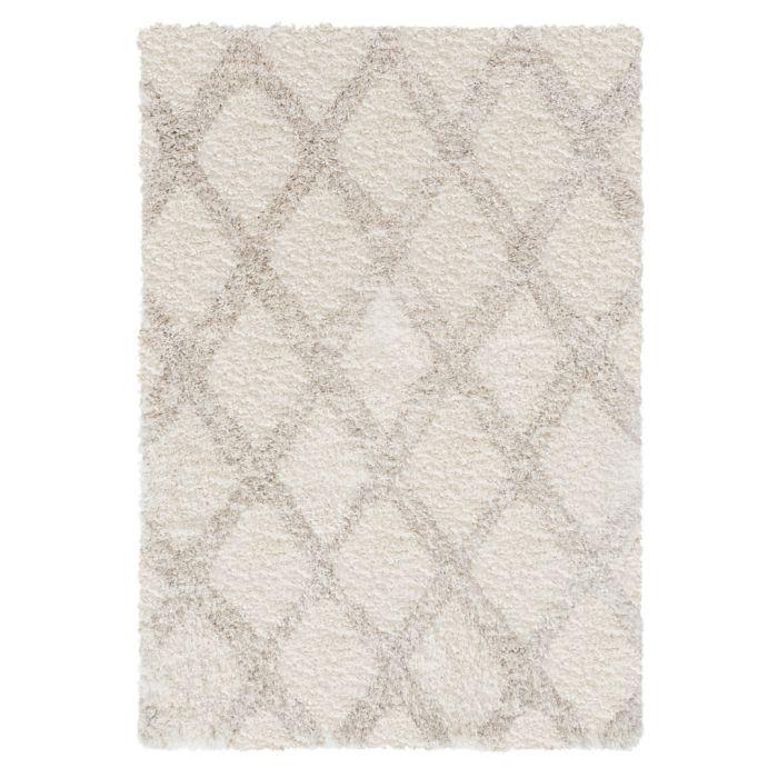 Ethno Kurzflor Shaggy Teppich | Pattern Weiss Grau 30 mm | MY8699LC ETHNO 8699 LBEIGE/CREAM Geometrische Muster