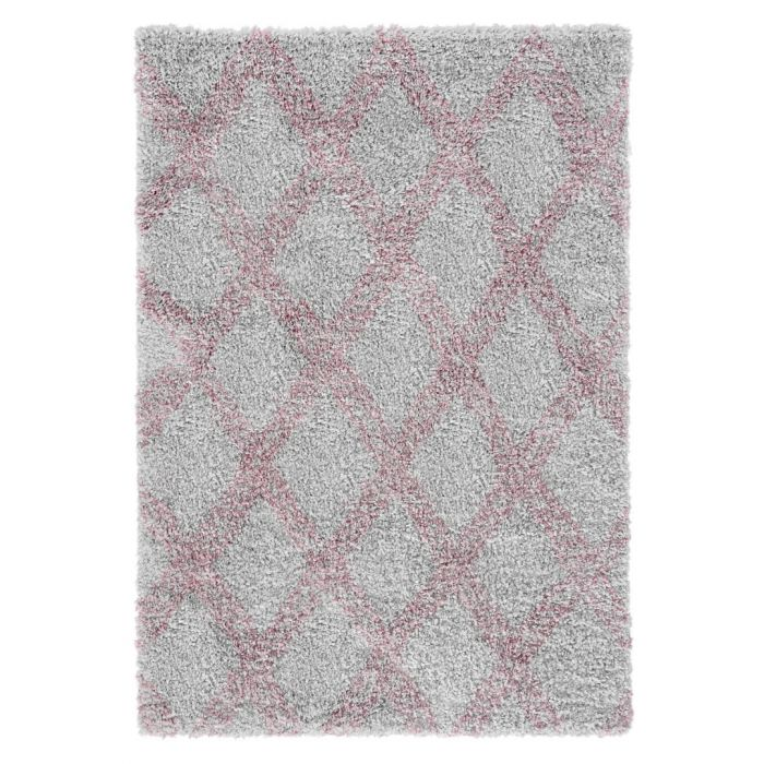 Ethno Kurzflor Shaggy Teppich | Pattern Rosa Grau 30 mm | MY8699PG ETHNO 8699 PINK/GREY Geometrische Muster