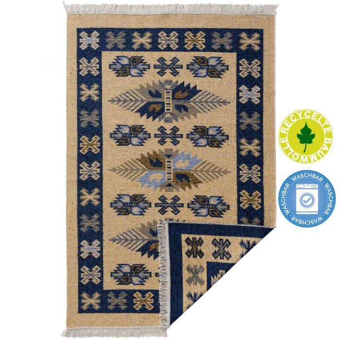 Kurzflor Teppiche Antibakteriell Waschbarer Wendeteppich aus recycelter Baumwolle im Vintage Kilim | MY9910M