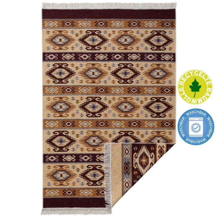 Kurzflor Teppiche Antibakteriell Waschbarer Wendeteppich aus recycelter Baumwolle im Vintage Kilim | MY9930V