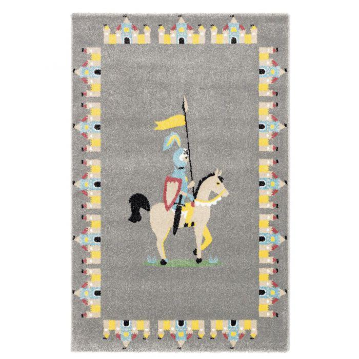 Alle Artikel Kurzflor Kinder Teppich grau Motiv Ritter Burg Kinderzimmerteppich Spielteppich