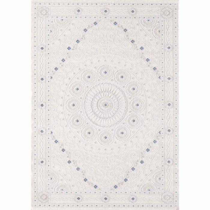 Aktuelle Trends Inspirieren Designer Teppich in Weiss Cream mit Ornament Medaillon | Bordüre MY3203