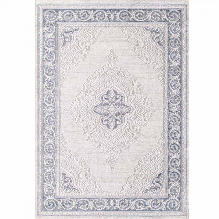 Designer Teppich in Pastel Turkis mit Vintage Medaillon | Bordüre MY3201 HAR-3201-Turkis Teppiche in Türkis