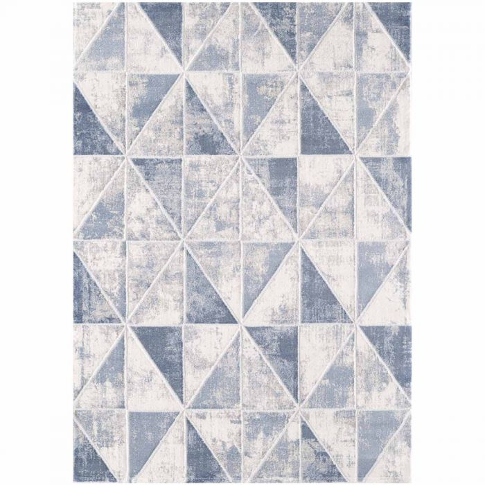Geometrische Muster Moderner Teppich mit weichem Flor in geometrischem Muster in Blau Weiss Grau MY3212