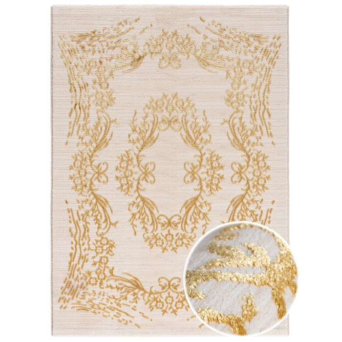 Aktuelle Trends Golden Collection Designerteppich Designer Teppich Elite Gold in Beige | MY705