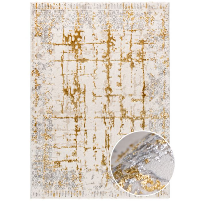 Aktuelle Trends Golden Collection Designerteppich Designer Teppich Mythos Gold in Beige | MY706