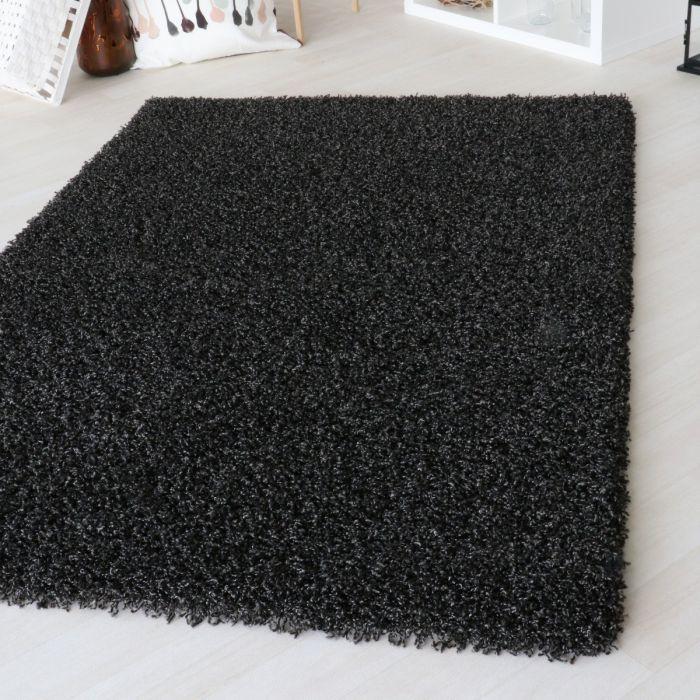 Teppich Wohnzimmer 50 mm | Shaggy Hochflor Teppich Schwarz | 2 Farbige Melierung MY160
