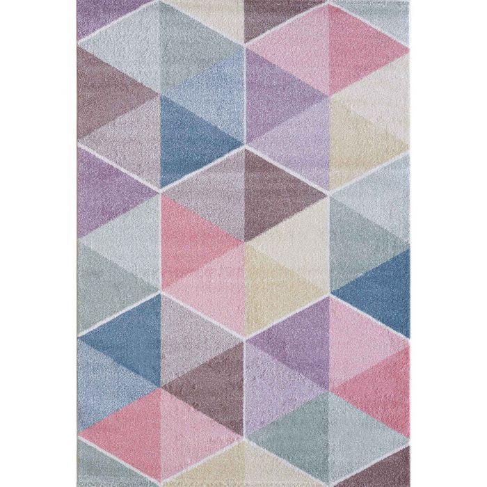 Kinderzimmer Teppich Bunt | Geometrische Muster für Jungs | Mädchen Nr.4607 LunaK-4607-cream Teppiche in Bunt