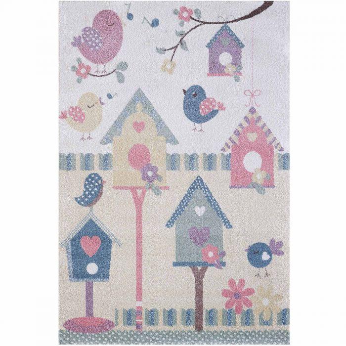 Kinderzimmer Teppich Bunt | Vogelmotiven für Jungs | Mädchen Nr.4601 LunaK-4601-cream für Kinder